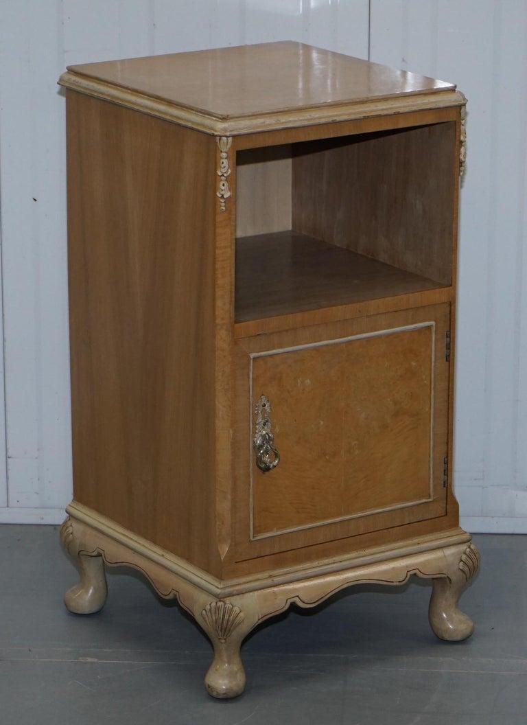 English Original Maple & Co Art Deco circa 1930s Burr Walnut Bed Side Table Cabinet For Sale