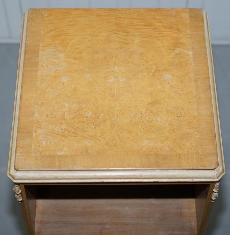 Hand-Crafted Original Maple & Co Art Deco circa 1930s Burr Walnut Bed Side Table Cabinet For Sale