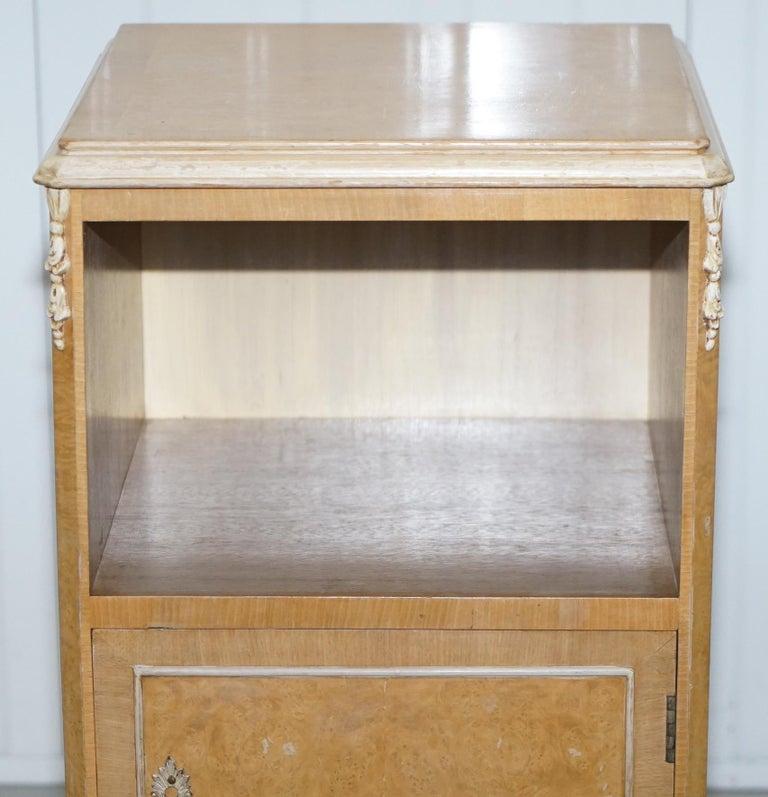 Mid-20th Century Original Maple & Co Art Deco circa 1930s Burr Walnut Bed Side Table Cabinet For Sale