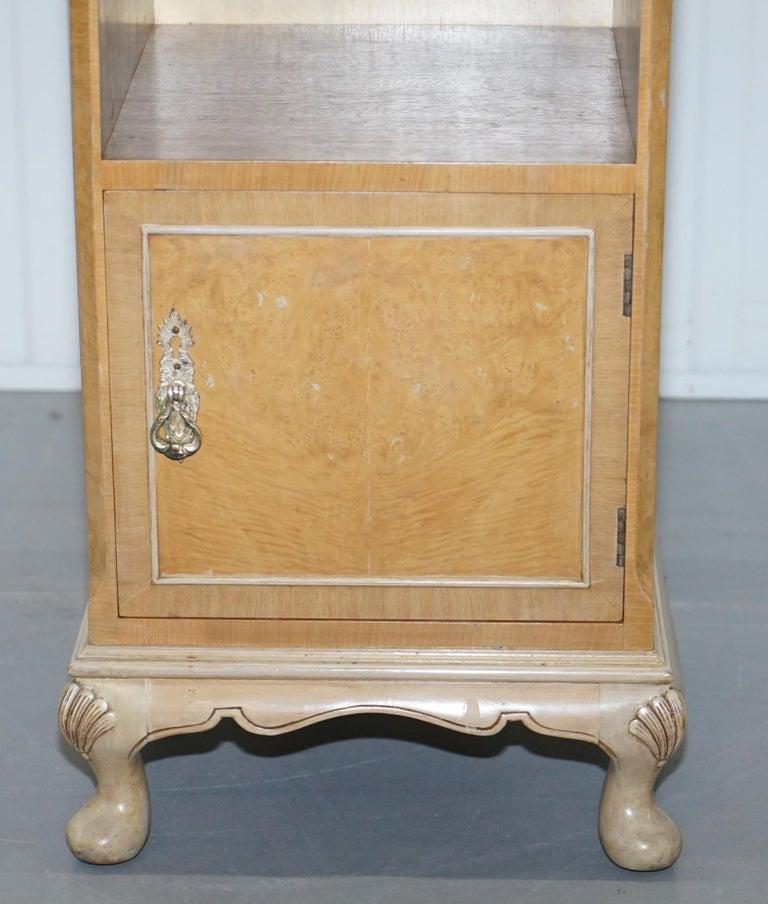 Burl Original Maple & Co Art Deco circa 1930s Burr Walnut Bed Side Table Cabinet For Sale