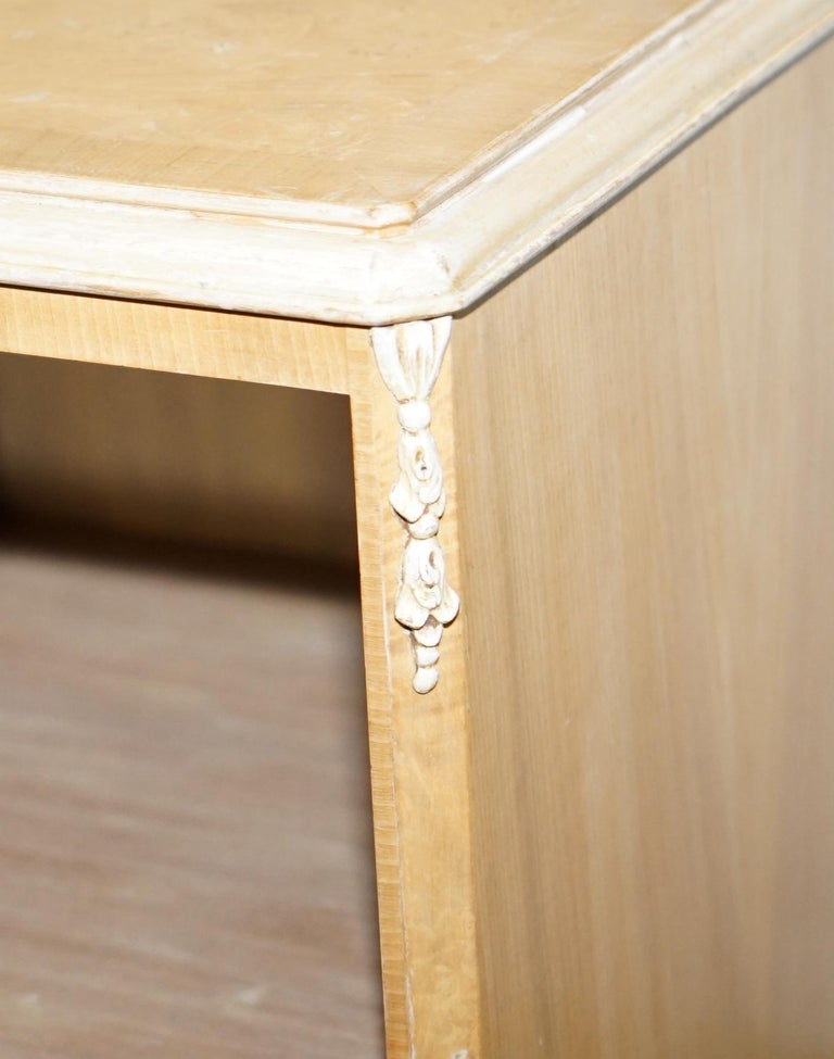 Original Maple & Co Art Deco circa 1930s Burr Walnut Bed Side Table Cabinet For Sale 2