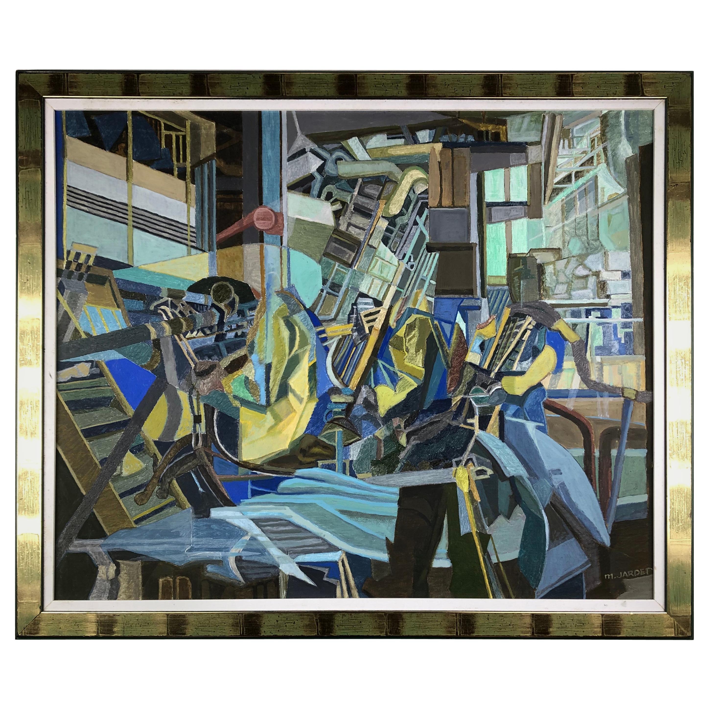 Original Marc Jardet Painting, Abstract Cubism circa 1960, Manner Jacques Villon