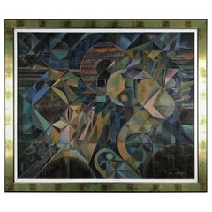 Original Marc Jardet Painting, Abstract Cubism, Manner of Jacques Villon