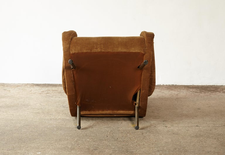Brass Original Marco Zanuso Senior Chair for Re-Upholstery, Arflex, Italy, 1960s