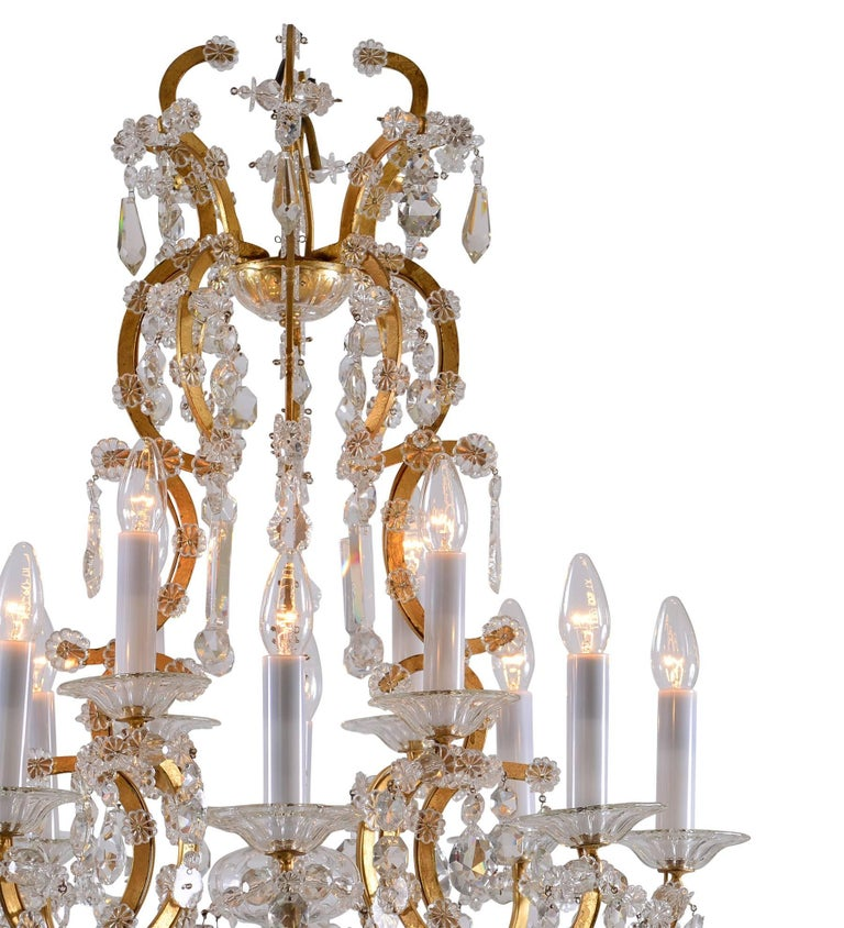 Baroque Revival Original Maria Theresien Style Crystal Chandelier with Rich Prism Hanging For Sale