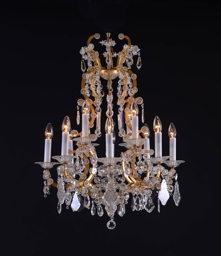 Austrian Original Maria Theresien Style Crystal Chandelier with Rich Prism Hanging For Sale