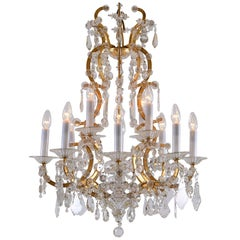 Original Maria Theresien Style Crystal Chandelier with Rich Prism Hanging