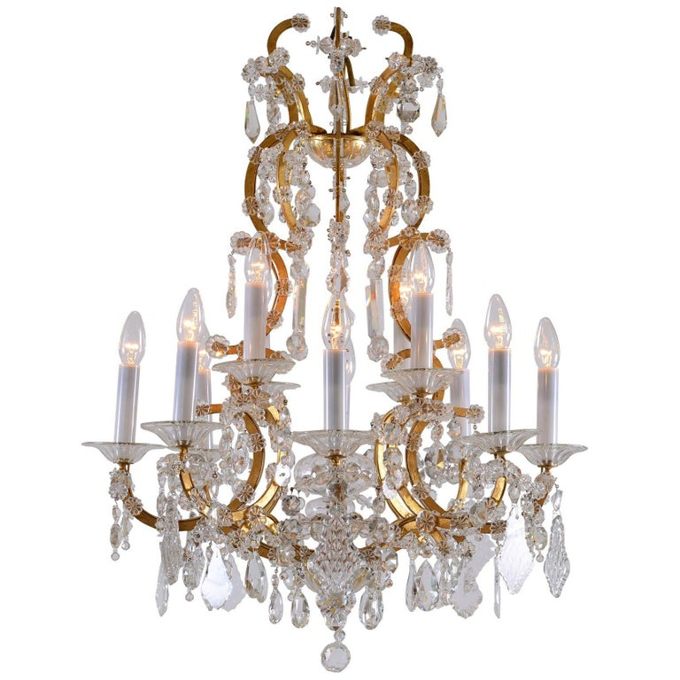 Original Maria Theresien Style Crystal Chandelier with Rich Prism Hanging For Sale
