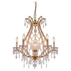 Original Maria Theresien Style Crystal Glass and Brass Chandelier 1920ies
