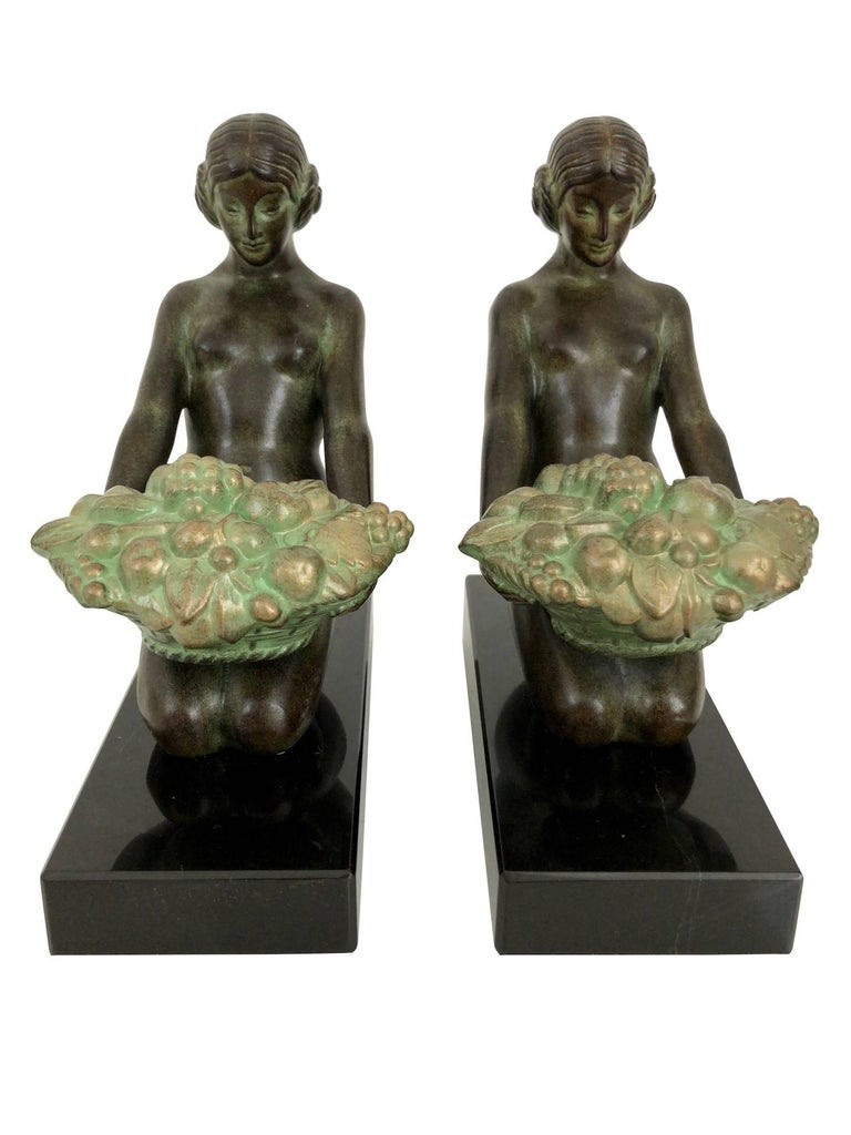 Patinated Original Max Le Verrier Cueillette Art Deco Style Bookends in Spelter and Marble For Sale