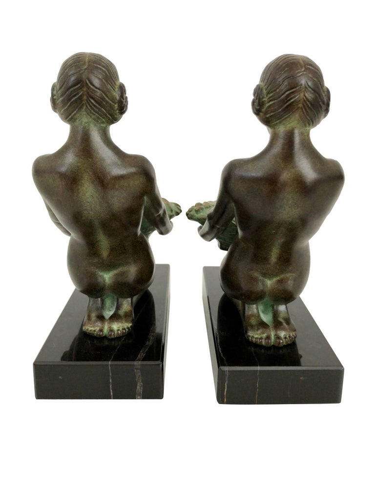 Original Max Le Verrier Cueillette Art Deco Style Bookends in Spelter and Marble In Excellent Condition For Sale In Baden-Baden, DE