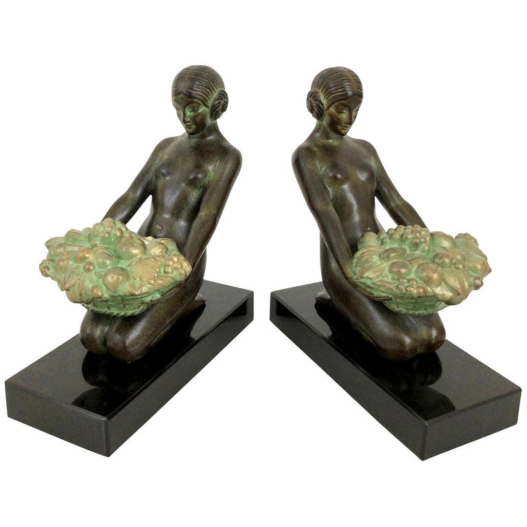 Original Max Le Verrier Cueillette Art Deco Style Bookends in Spelter and Marble For Sale
