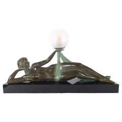 Original Max Le Verrier Lighted Sculpture Aube in Art Deco Style