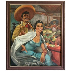 Original Mexican Oil on Canvas by Morales Arriaga