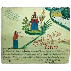 "Original Mexican Retablo ""Exvotos"" Oil on Tin"