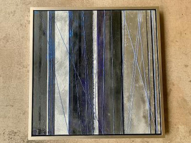 """""""Mezzanine"""" is an original, one of a kind acrylic, silver leaf, Sumi black ink, with polyurethane blue string accents painting on wood panel by American Artist, Chanel Verdult. Sure to create dramatic ambiance in any room, """"Mezzanine"""" features bold"""
