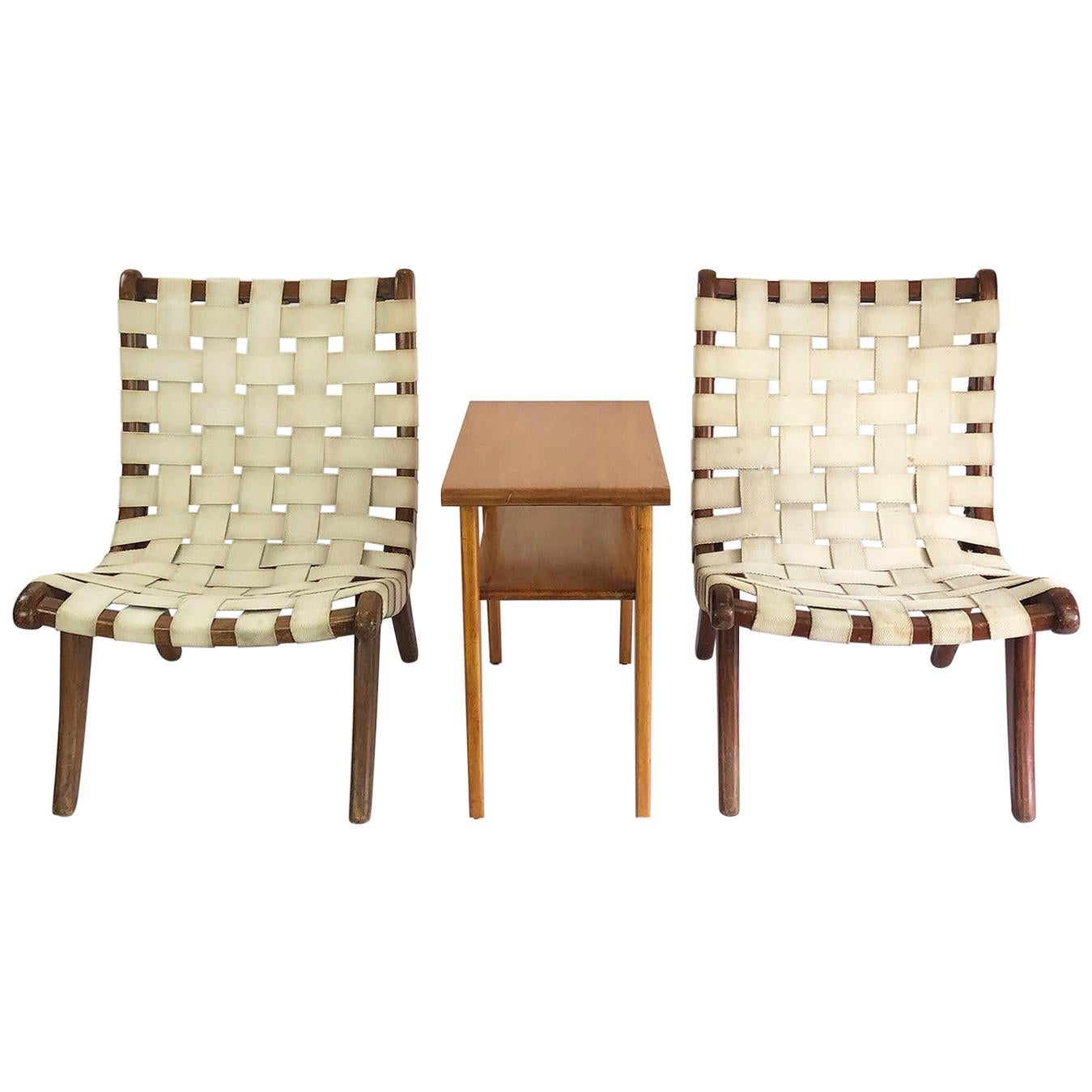 Original Michael Van Beuren Pair of Mexican San Miguelito Easy Chairs and Table