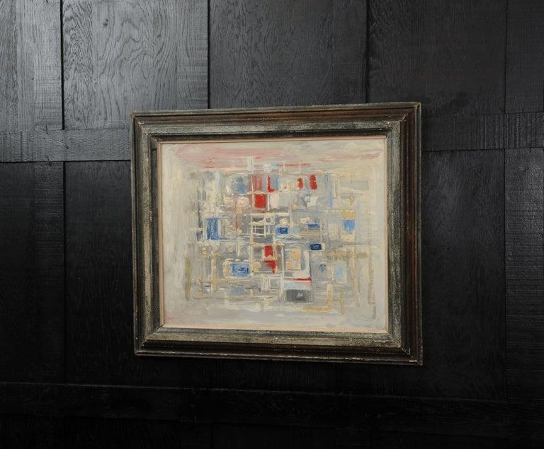 Mid-Century Modern Original Midcentury Abstract Oil Painting by William Ernst Burwell, FRSA