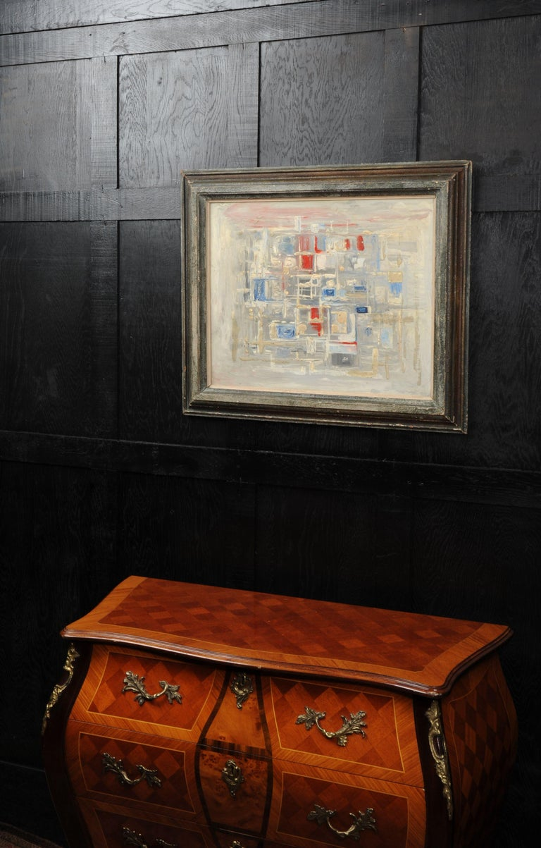 English Original Midcentury Abstract Oil Painting by William Ernst Burwell, FRSA