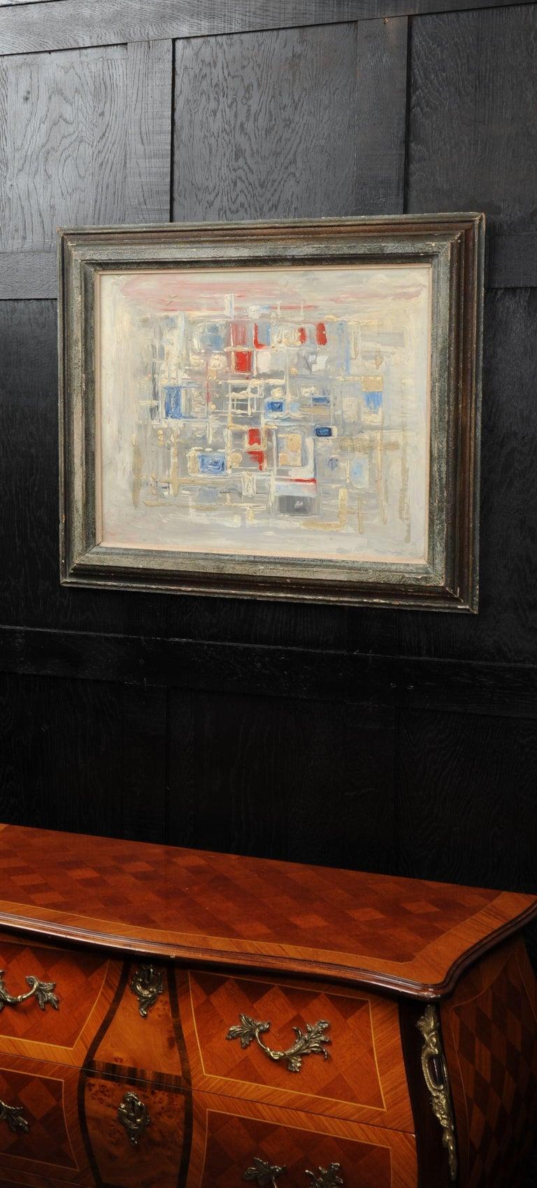 Original Midcentury Abstract Oil Painting by William Ernst Burwell, FRSA In Good Condition In Belper, Derbyshire