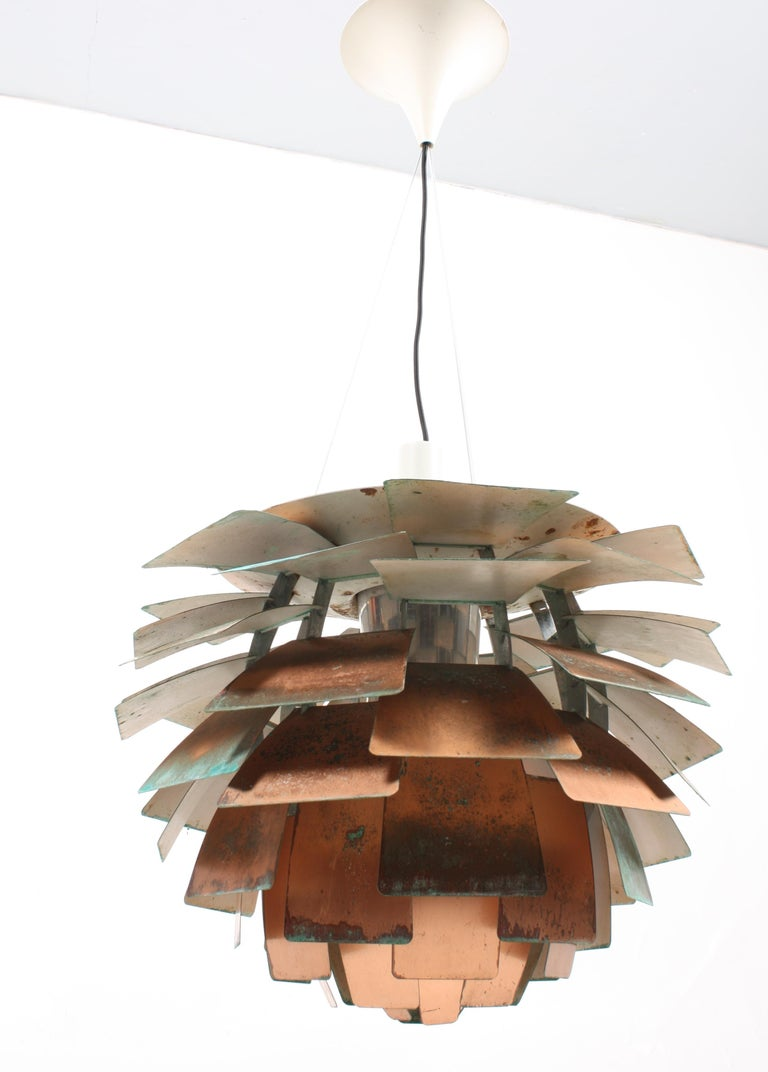 Mid-20th Century Original Midcentury Artichoke Pendant in Patinated Copper For Sale