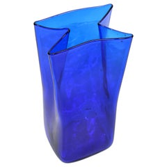 Original Mid-Century Modern Blue Hand Blown Art Glass Vase, Vessel Blenko, 1980