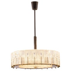 Original Mid-Century Modern Doria Chandelier, Ice Glass