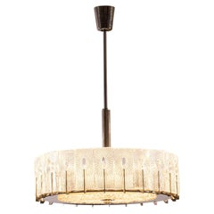 "Original Mid-Century Modern Ice Glass ""Doria"" Chandelier"