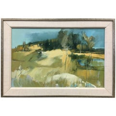 Original Mid Century Paul Zimmerman Signed Abstract Oil Painting