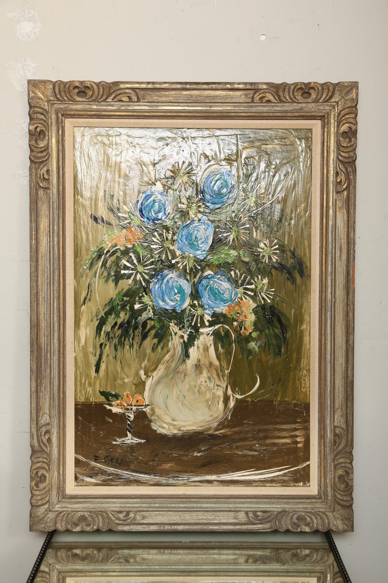 Heavy palette floral still life done in primarily blues and greens. Painted by midcentury artist Etta Cien.