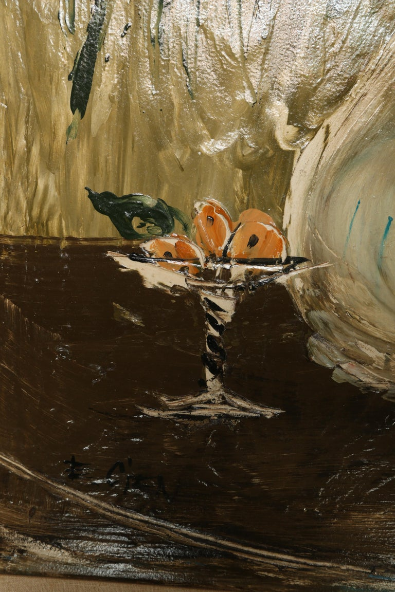 Original Midcentury Still Life Oil Painting In Good Condition For Sale In West Palm Beach, FL