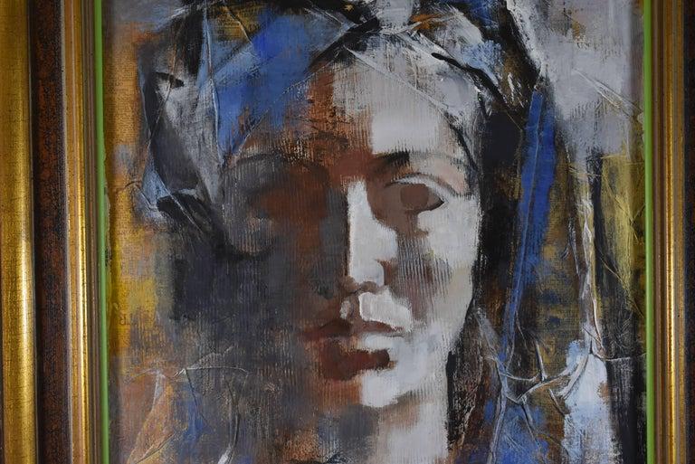 Original Mid Modern Portrait Paper On Board Female 1970s