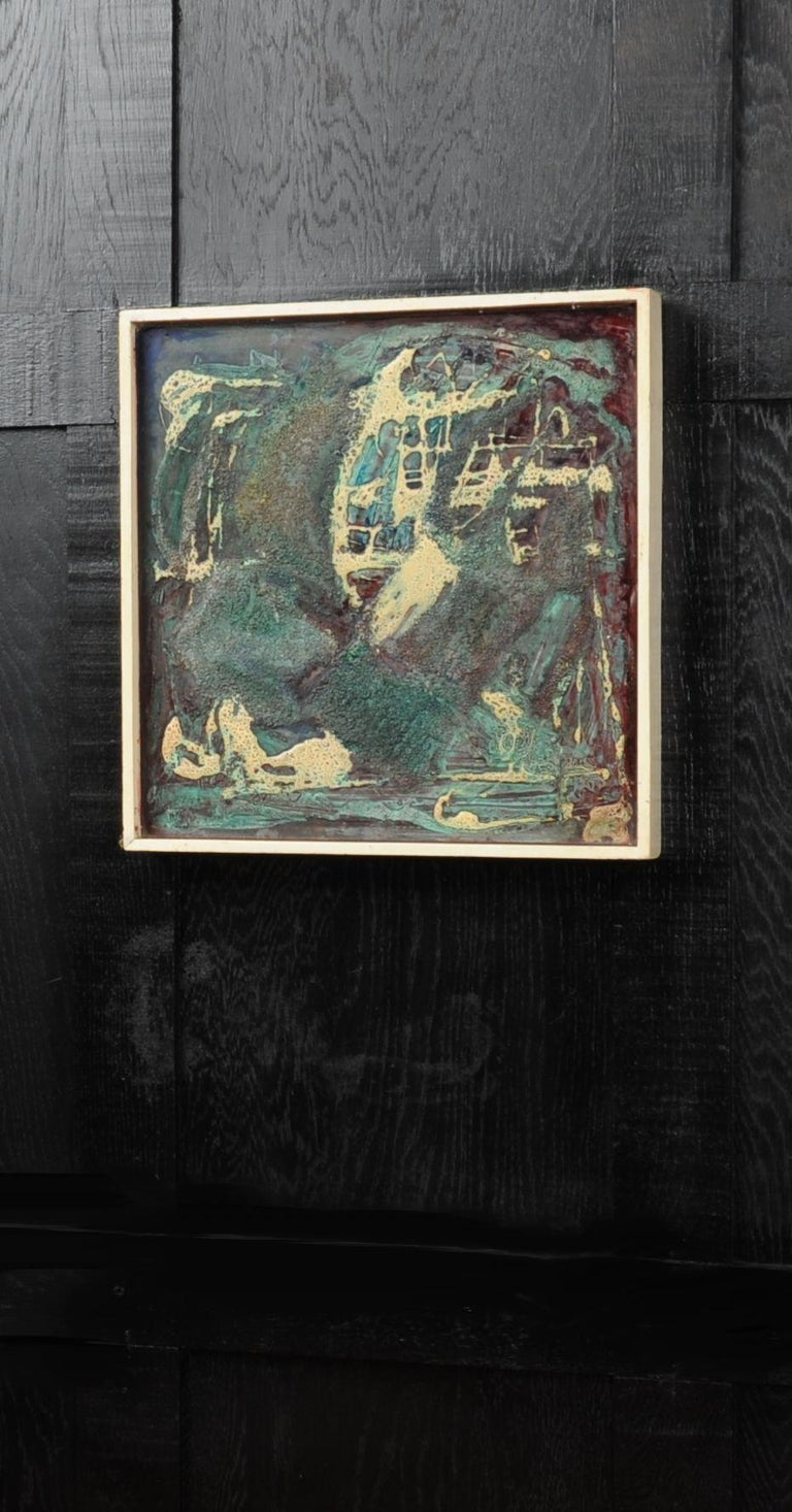English Original Midcentury Abstract Oil Painting by William Ernst Burwell, FRSA For Sale