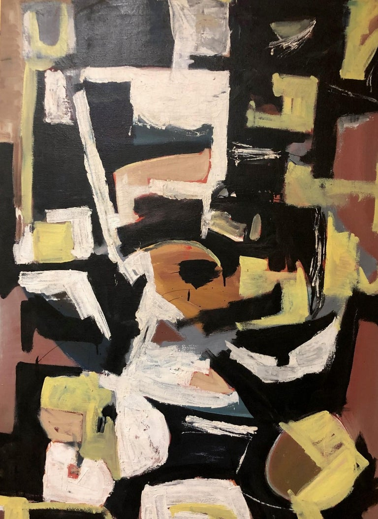 Original midcentury abstract oil on canvas painting by Clay Walker, circa 1956. The painting measures 34