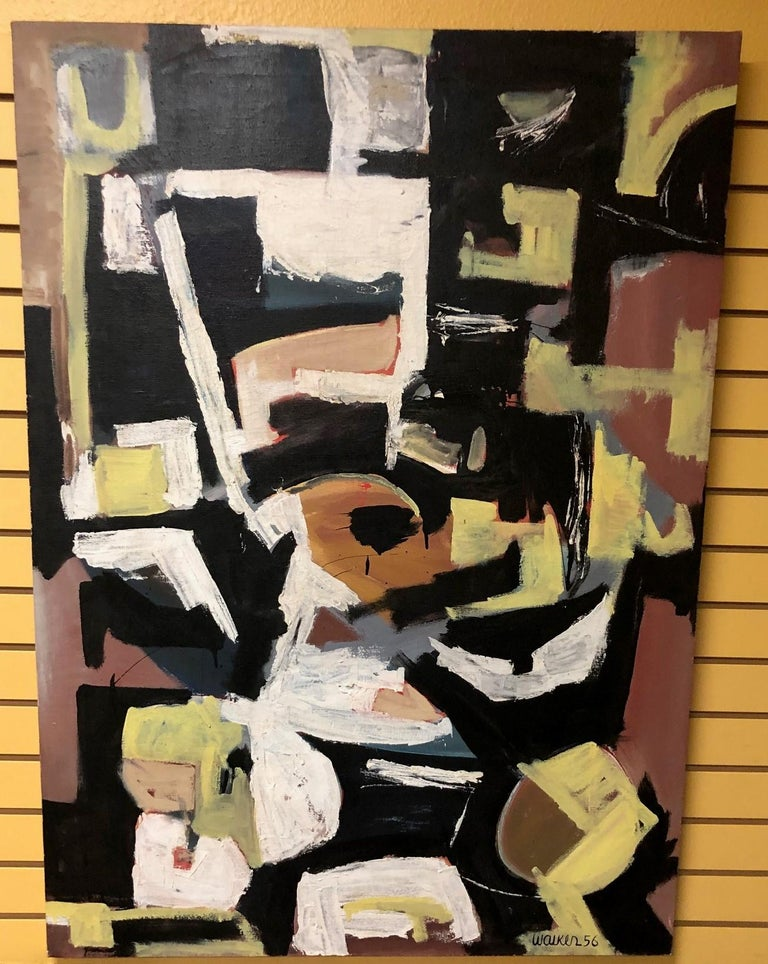 Original Midcentury Abstract Painting by Clay Walker In Good Condition For Sale In San Diego, CA