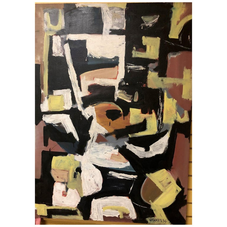 Original Midcentury Abstract Painting by Clay Walker For Sale