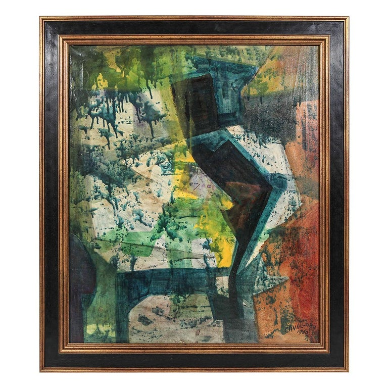 Original Midcentury Abstract Painting For Sale