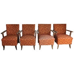 Original Midcentury Armchairs, circa 1950, Set of Four