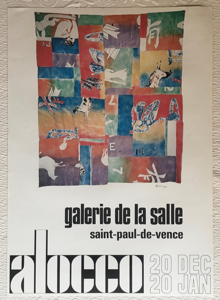 Original midcentury art exhibition poster. This original poster has very vivid colors and measures 22 3/4