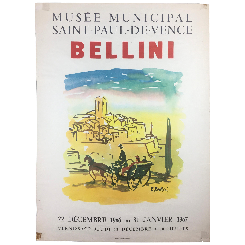 Original Midcentury Landscape Art Exhibition Poster by Bellini
