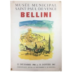 Original Midcentury Landscape Art Exhibition Poster by Bellini