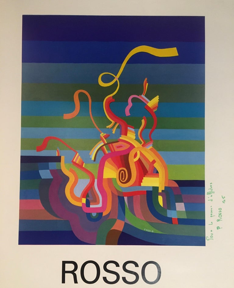 Original midcentury abstract art exhibition poster with wonderful vivid colors of blue, red, green, beige, etc... Very decorative, signed by the artist and dated 1975.  Measures: 18