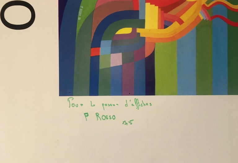 French Original Midcentury Abstract Art Exhibition Poster, Signed Rosso Dated 1975 For Sale