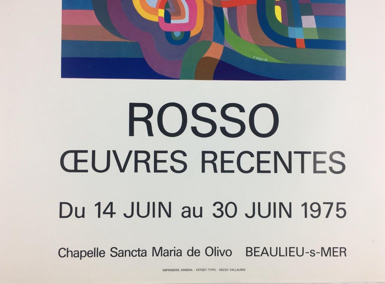 Original Midcentury Abstract Art Exhibition Poster, Signed Rosso Dated 1975 In Good Condition For Sale In Arles, FR