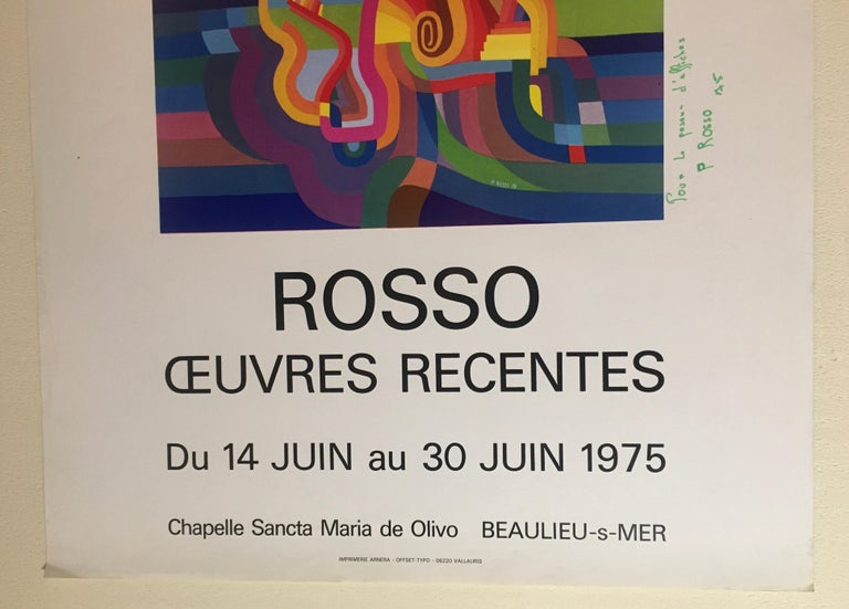 Original Midcentury Abstract Art Exhibition Poster, Signed Rosso Dated 1975 For Sale 1