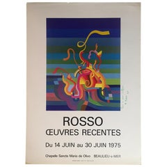 Original Midcentury Art Exhibition Poster Signed by the Artist, Rosso Dated 1975