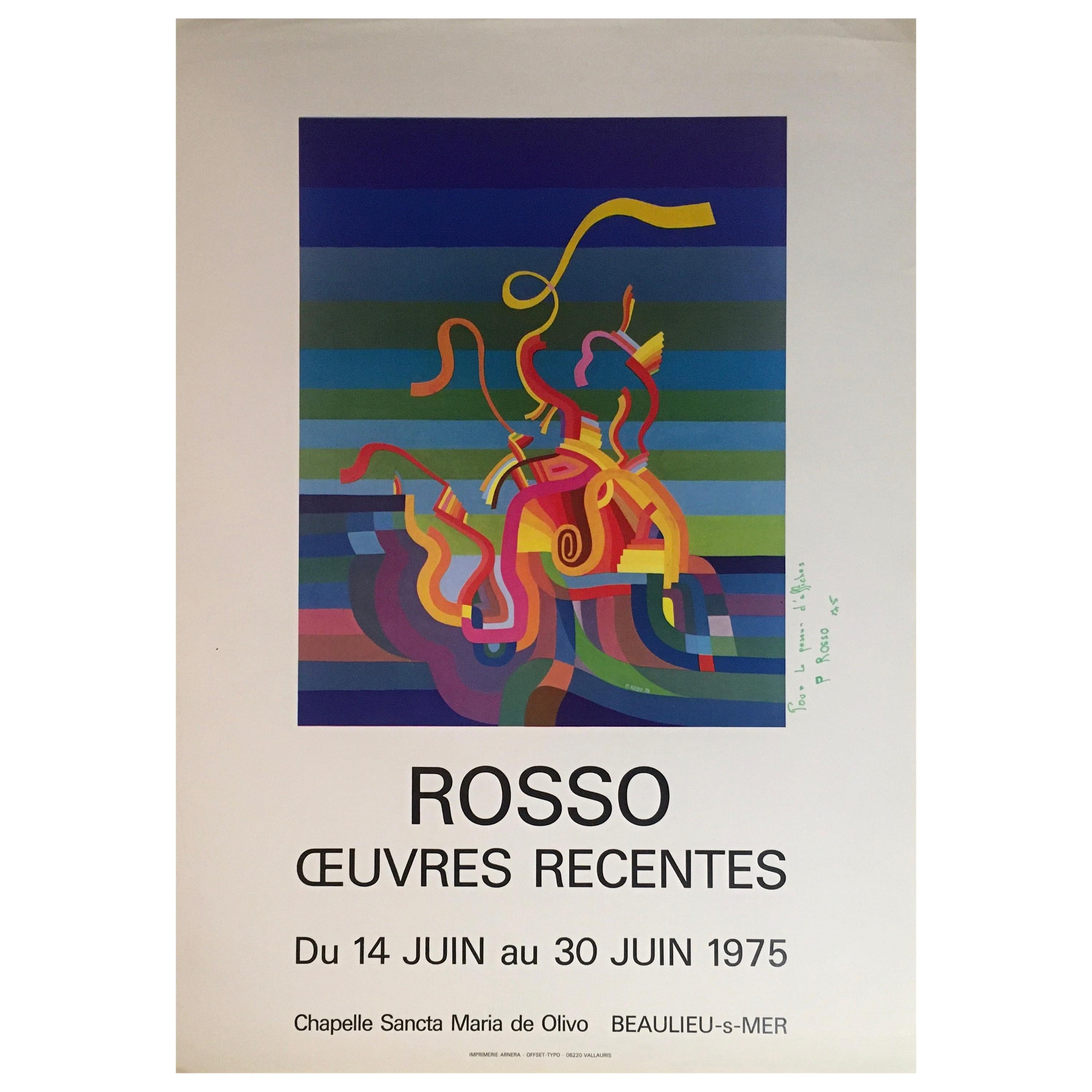 Original Midcentury Abstract Art Exhibition Poster, Signed Rosso Dated 1975