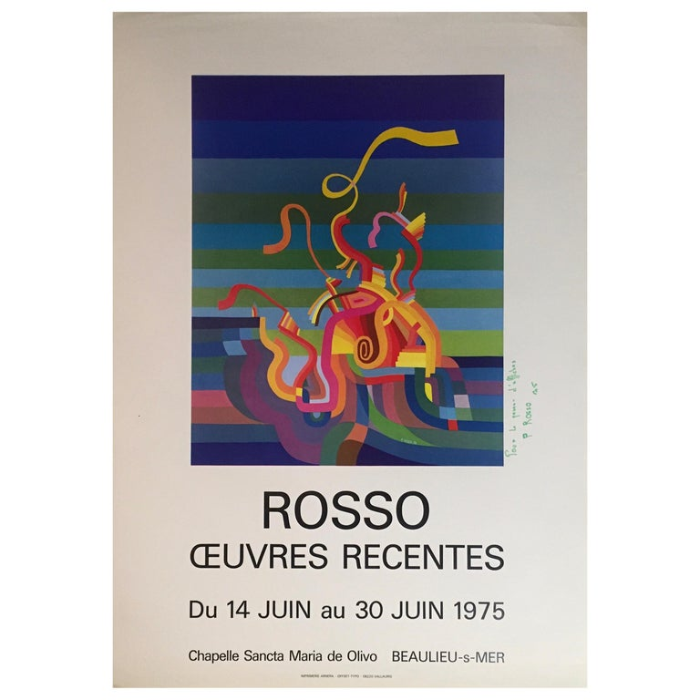 Original Midcentury Abstract Art Exhibition Poster, Signed Rosso Dated 1975 For Sale