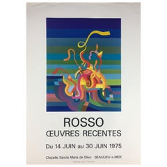 Original Midcentury Abstract Art Exhibition Poster, Works by Rosso Dated 1975