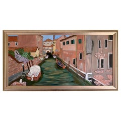 Original Midcentury Artist Signed Oil Painting of Venice Italy Waterway Canal